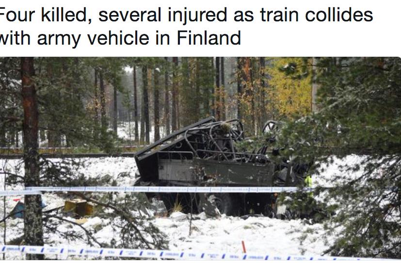 В Финляндии при столкновении поезда с бронеавтомобилем погибли четверо. Фото скриншот twitter.com/Reuters