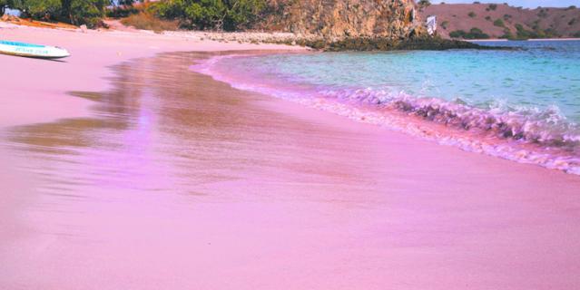 Пляж Пинк с розовым песком на острове Комодо.