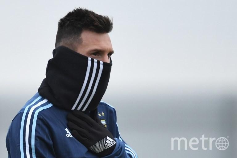 Лионель Месси на тренировке сборной Аргентины в Москве. Фото AFP