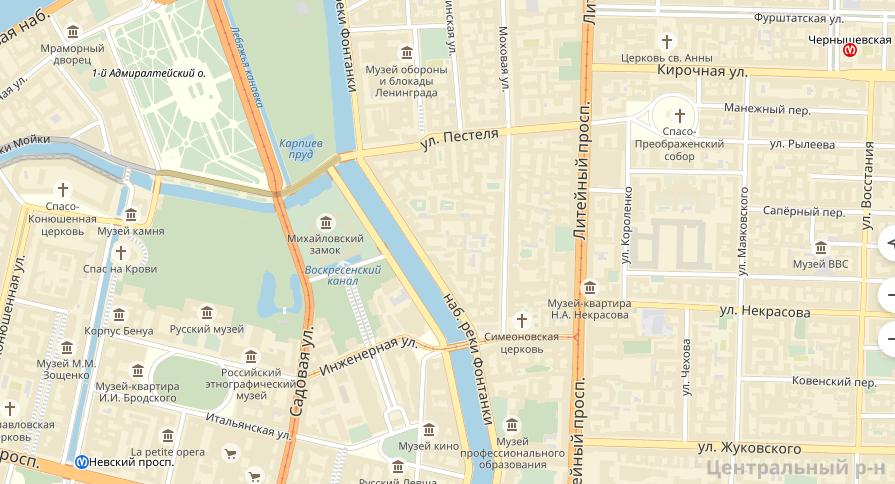 ДТП произошло на набережной Мойки, на пересечении с Лебяжьей канавкой. Фото яндекс.карты.