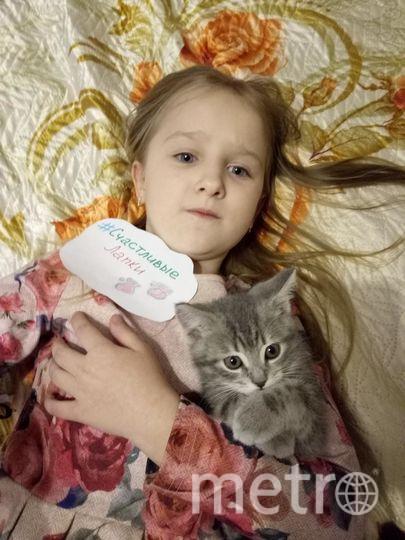 На фото моя дочь Дудина Аня и ее питомец котёнок Ричард.