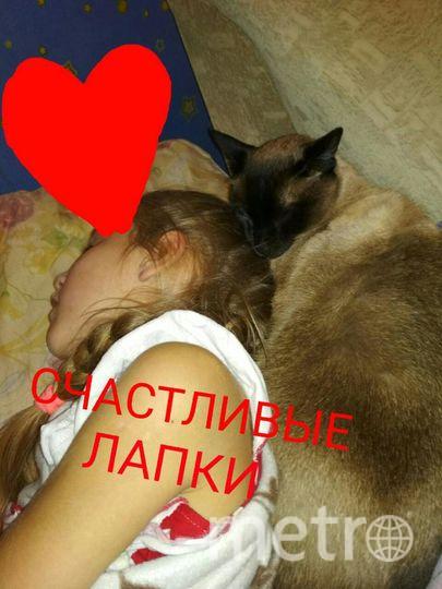 Счастливые лапки.Кот Симбо и Ярослава-лучшие друзья.Никогда не расстаются.