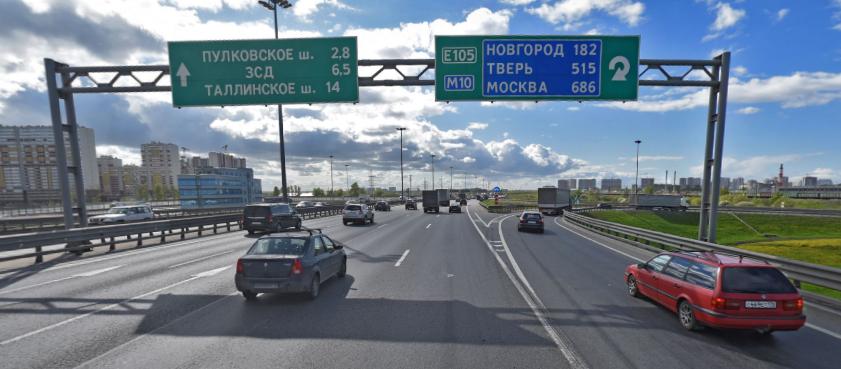 На КАД в районе развязки с Московским шоссе будут полностью перекрывать движение по ночам.