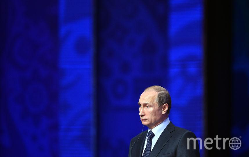 Президент России Владимир Путин во время жеребёвки квалификационного этапа чемпионата мира. Фото Getty