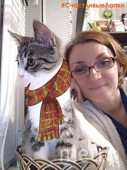 На фото я с котёнком Ласка.  Дмитриева Ольга.