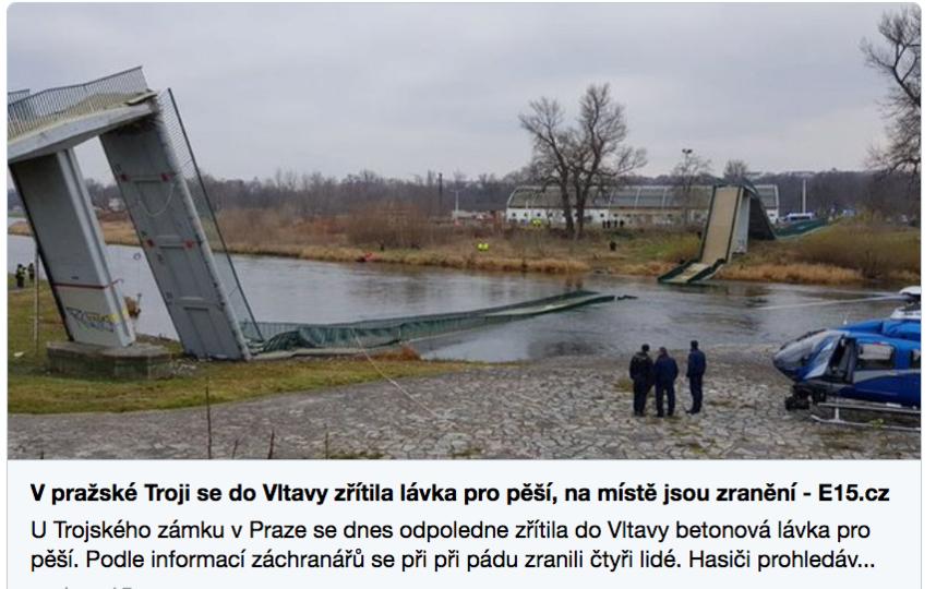 В Праге упал мост, пострадало четверо человек. Фото Скриншот https://twitter.com/E15news