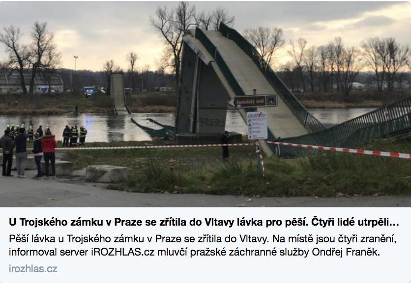 В Праге упал мост, пострадало четверо человек. Фото скриншот twitter.com/UdzenijaAlex