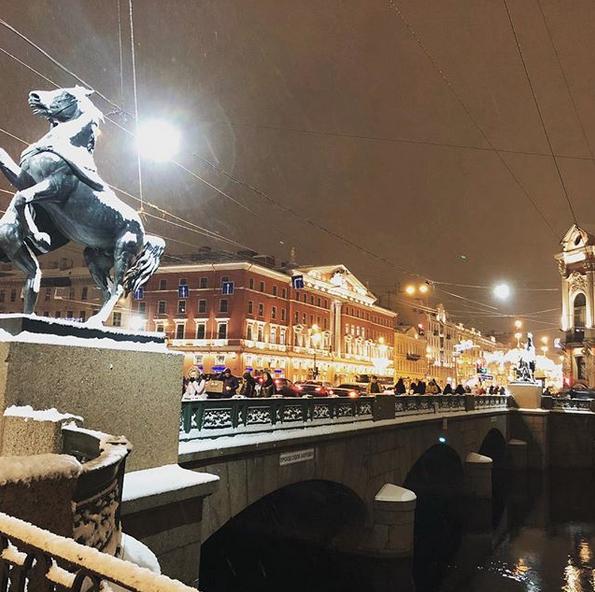Заснеженный Санкт-Петербург. Фото Скриншот Instagram: @vladimir.rti