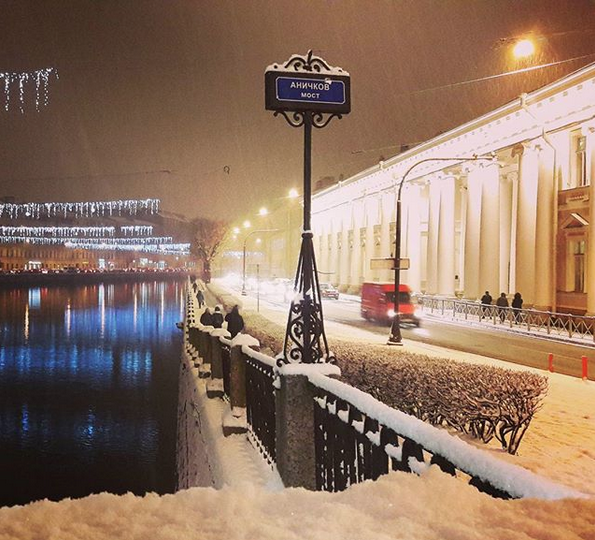 Заснеженный Санкт-Петербург. Фото Скриншот Instagram: @olushka_ok