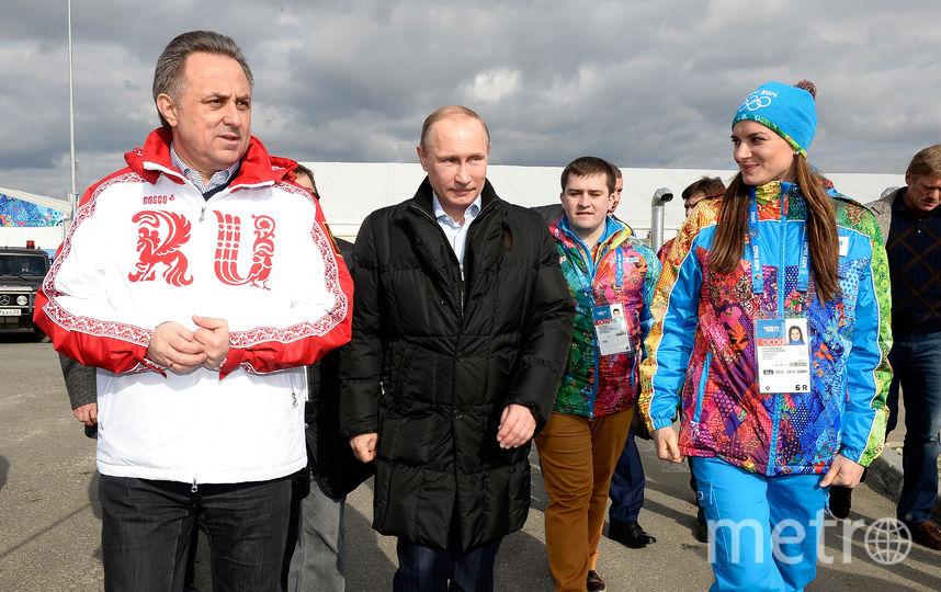 Виталий Мутко, Владимир Путин и Елена Исинбаева на Олимпиаде в Сочи, 2014-й год. Фото Getty