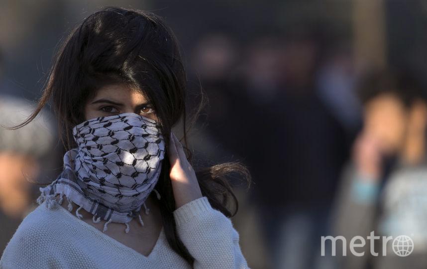 Участница протестов в городе Наблус. Фото AFP