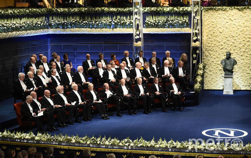 Нобелевские лауреаты в Стокгольмском концертном зале. Фото AFP