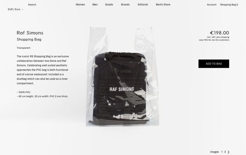 Многоразовый пакет из стопроцентного пластика. Фото скриншот | vooberlin.com