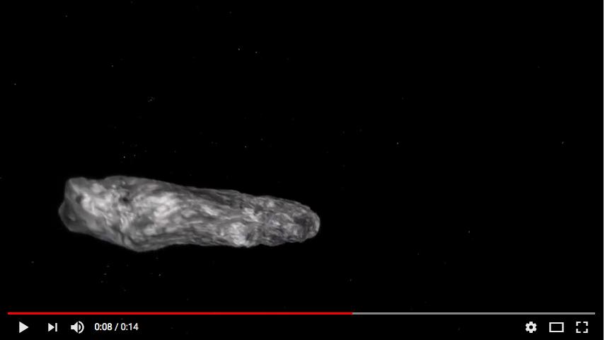 Наблюдения показали, что Oumuamua темный, красноватый по цвету и сильно вытянутый. Фото Скриншот Youtube