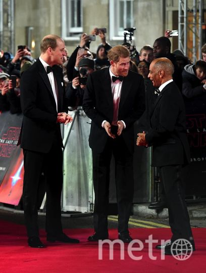 """Премьера 8 эпизода """"Звездных войн"""" в Лондоне. Принцы Уильям и Гарри. Фото Getty"""