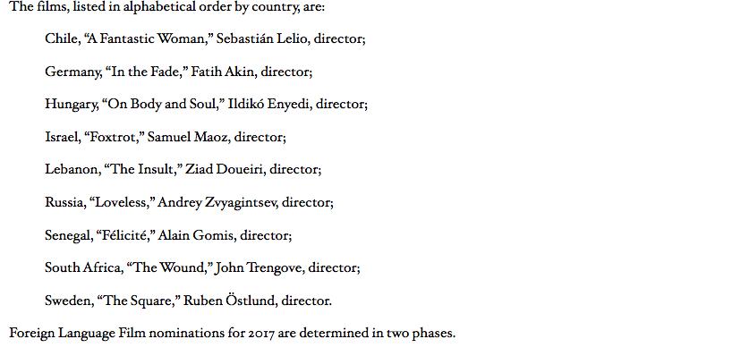 """Список фильмов на """"Оскар"""". Фото http://www.oscars.org"""