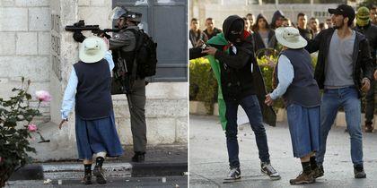 Безоружная бабуля разнимает израильских силовиков и палестинцев: видео
