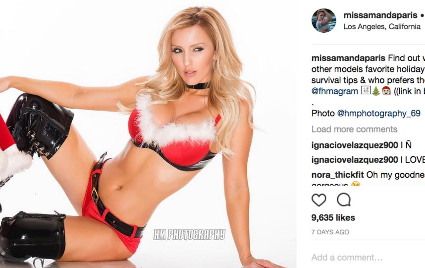Модели в нижнем белье выложили рождественские фото. Фото https://www.instagram.com/missamandaparis/