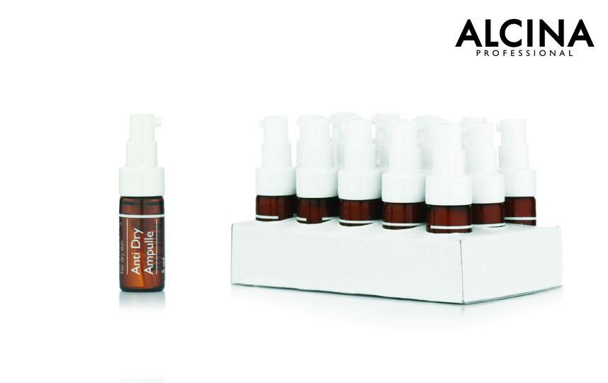 Ампульное средство ALCINA c витаминами A и E, маслами земляного ореха, авокадо и персиковых косточек укрепляет сопротивляемость кожи.