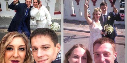 мы с моим молодым человеком гуляли на свадьбе у друзей и выходя из ЗАГСа решили сделать селфи, как мимо проходили молодожены и решили попозировать, поскольку солнце было ярким, не заметили этого. Уже потом их увидив, были приятно удивлены. Спустя год уже на нашей свадьбе, в том же месте решили повторить снимок. Фото Чистякова Елена