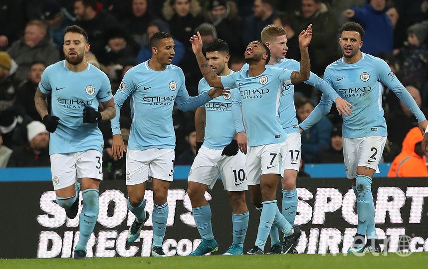 "Футболисты ""Манчестер Сити"" празднуют гол Рахима Стерлинга. Фото Getty"