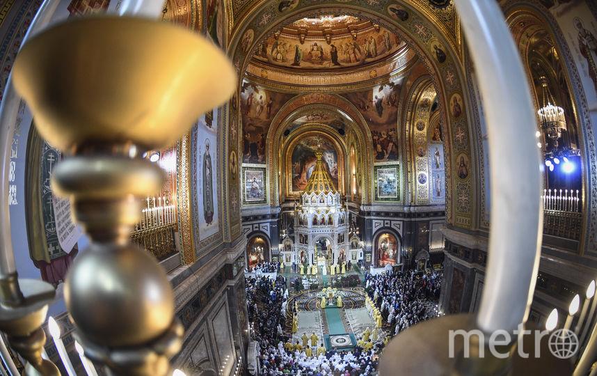 Ночное рождественское богослужение в храме Христа Спасителя в Москве. Фото AFP