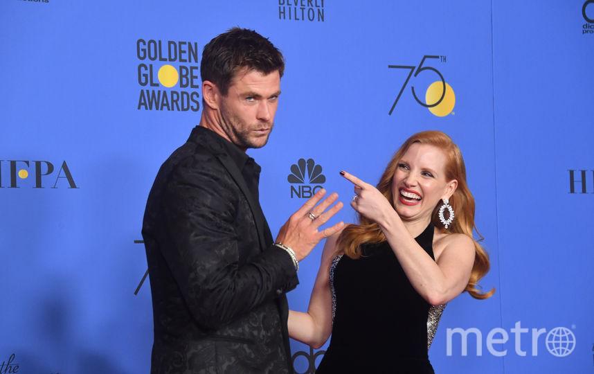 """""""Золотой глобус"""". Крис Хемсворт и Джессика Честейн. Фото AFP"""