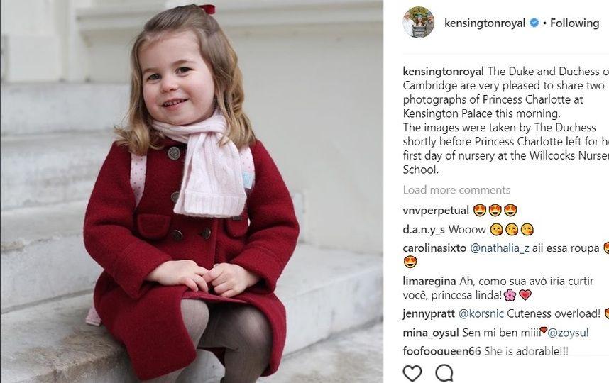Принцесса Шарлотта пошла в детский сад 8 января. Фото instagram.com/kensingtonroyal