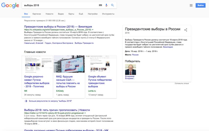 Google объявил Путина победителем президентских выборов. Фото Google