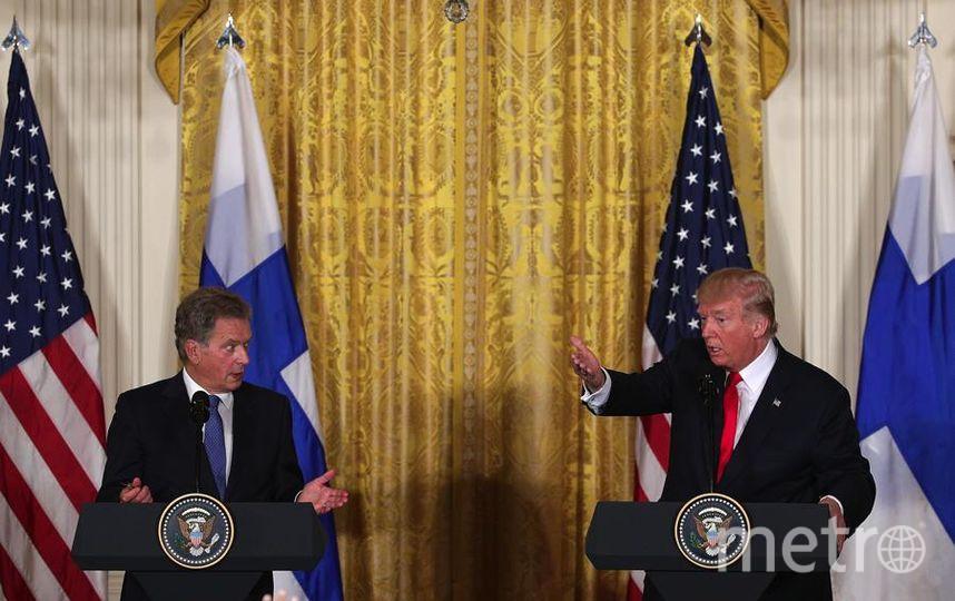 Дональд Трамп и президент Финляндии во время официальной встречи в Белом доме. Фото Getty
