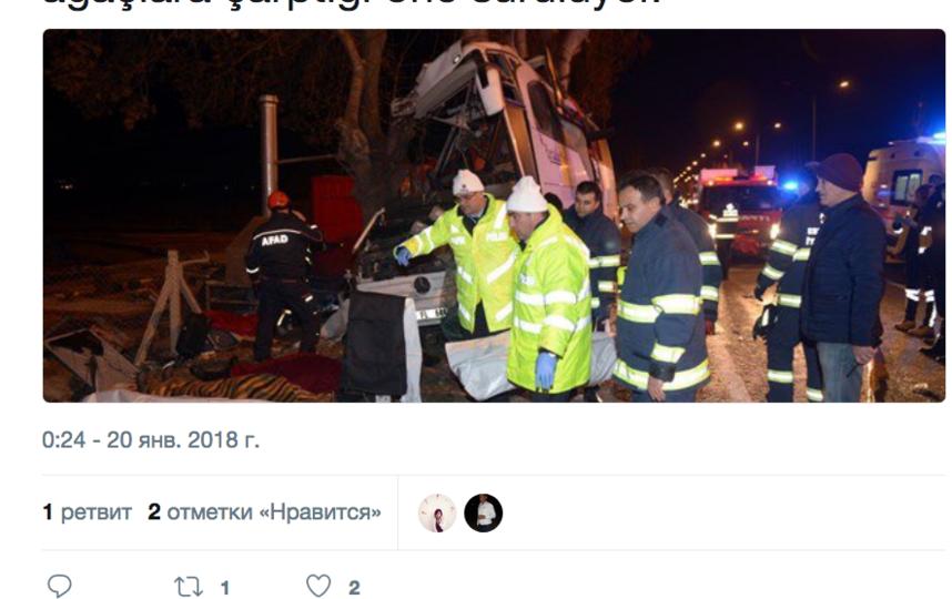 В Турции экскурсионный автобус вылетел с трассы и столкнулся с деревьями, погибли 11 человек. Фото Скриншот twitter.com/ntvradyo