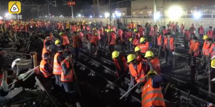 В Китае за девять часов построили новую железнодорожную развязку