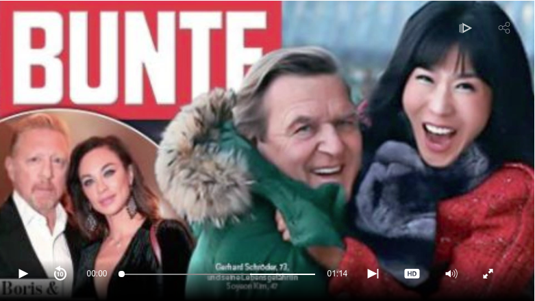 Фото Шредера с Ким появилось на обложке немецкого издания Bunte. Фото https://www.welt.de/politik/deutschland/article172832466/Gerhard-Schroeder-will-Freundin-So-Yeon-kim