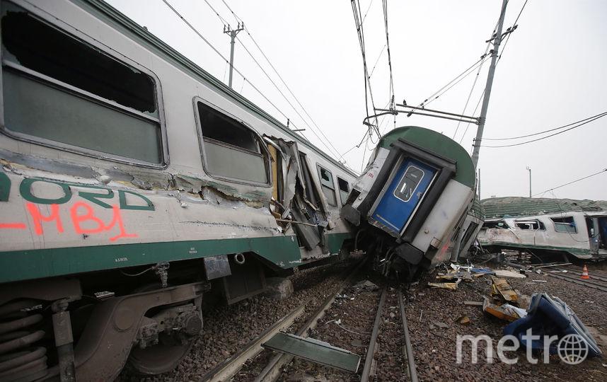Крушение поезда под Миланом. Фото Getty