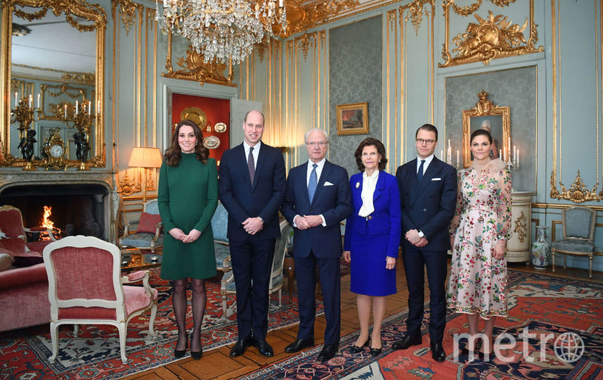 Герцогиня Кембриджская с супругом принцем Уильямом и члены шведской королевской семьи.. Фото Getty