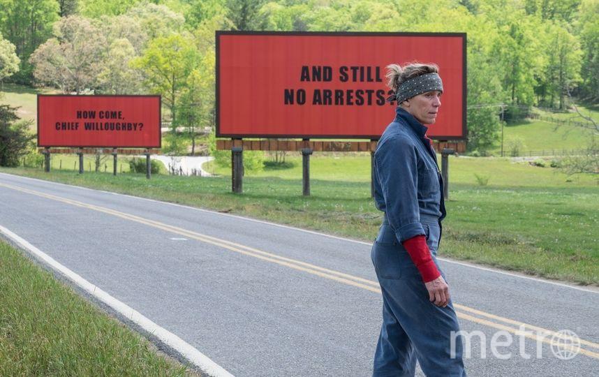 И Сэм Рокуэлл, и Фрэнсис МакДорманд стали номинантами «Оскара», а вообще, картина может получить аж семь золотых парней премии Киноакадемии. Фото «Двадцатый Век Фокс СНГ»