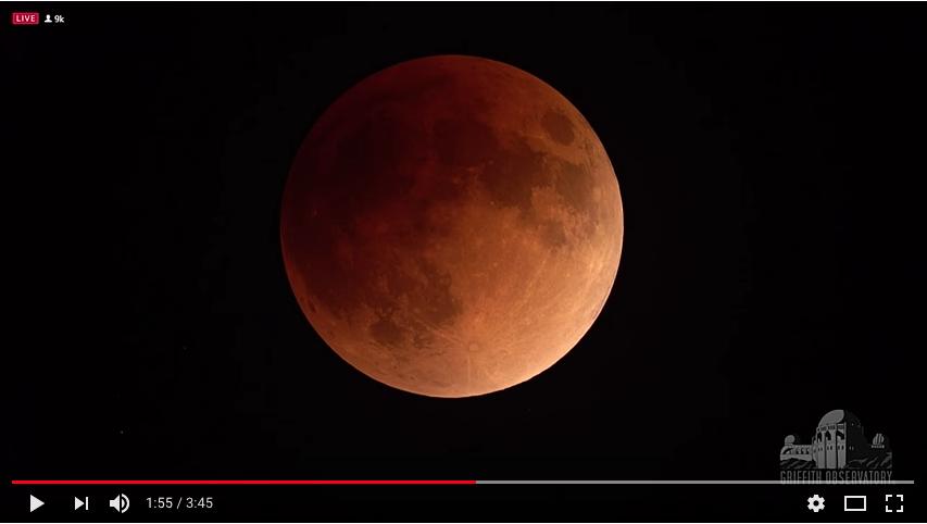 фрагменты затмения Луны в видео от NASA. Фото Скриншот Youtube