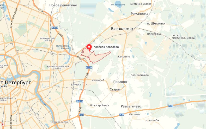 Пожар в Ковалёво. Фото яндекс.карты