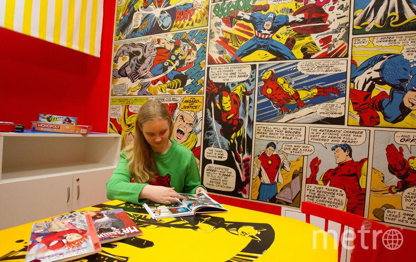 Комната для чтения и настольных игр в библиотеке №227 оформлена стрипами о Капитане Америке. Фото Василий Кузьмичёнок