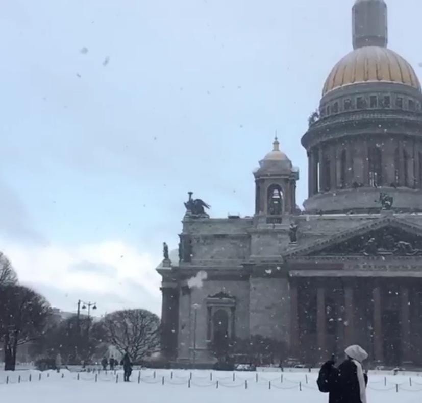 В Петербурге жители любуются красивым снегопадом. Фото Скриншот www.instagram.com/nar_sul/?utm_source=ig_embed