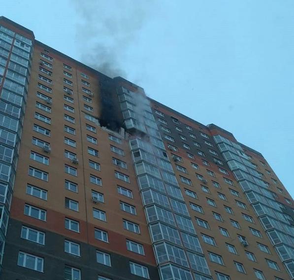 Пожар в одном из домов в ЖК Бутово-парк. Фото Instagram https://www.instagram.com/hmelsolod/