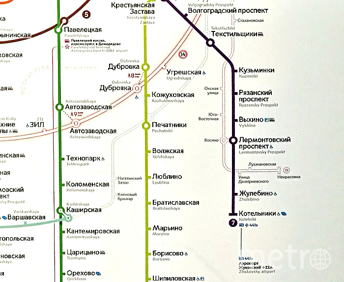 "Схема юго-восточного участка метро Москвы. Фото Алина Данг., ""Metro"""