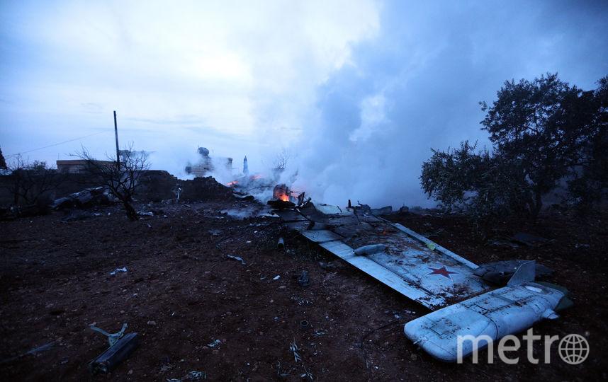 Сбитый в сирийской провинции Идлиб штурмовик Су-25, которым управлял Роман Филипов. Фото AFP