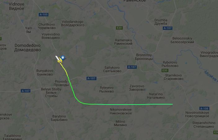 """Самолёт Ан-148 """"Саратовских авиалиний"""" после вылета из """"Домодедово"""" исчез с экранов радаров. Фото Скриншот с flightradar24"""