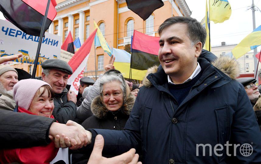 Михаил Саакашвили на демонстрации в центре Киева. Фото AFP