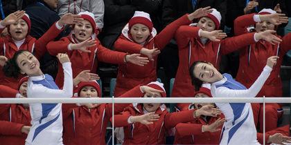 Северокорейские болельщицы на Олимпиаде. Фото AFP