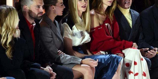 Звезды на показе Calvin Klein.