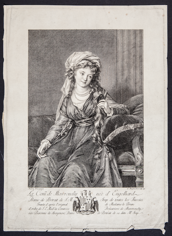 Портрет графини Екатерины  Скавронской.  Гравёр Дж. Морген,  1791 год. Фото Все Изображения предоставлены Пресс-службой Государственного Исторического музея