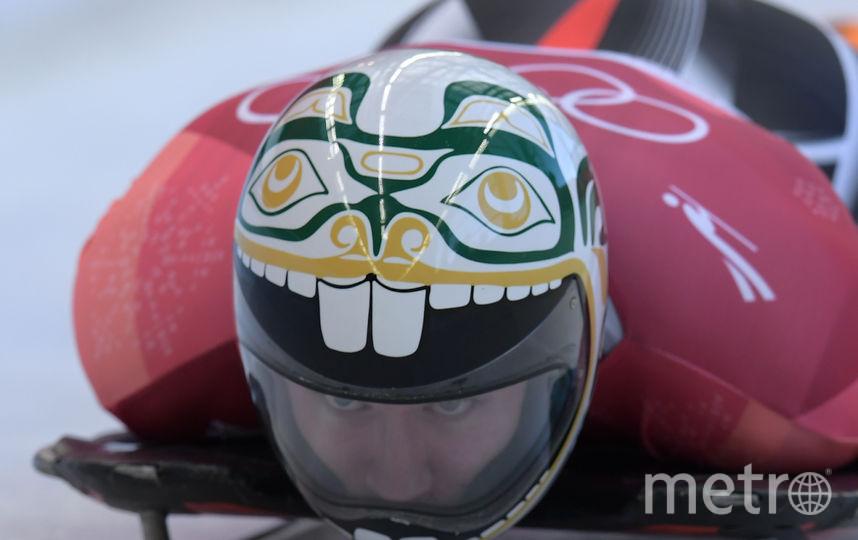 Кевин Бойер, Канада. На шлеме с затейливым дизайном изображен канадский бобр. Фото AFP