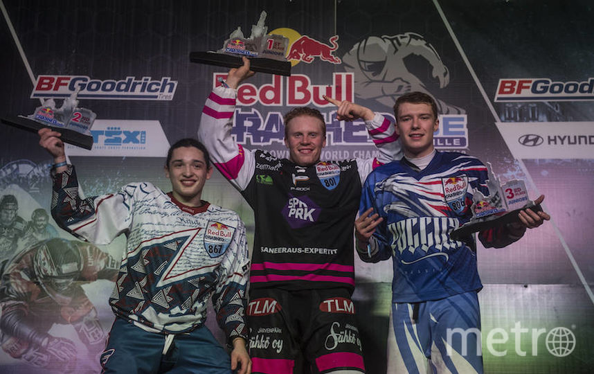 Призёры юниорского зачёта, в котором Мурлычкин стал третьим (справа). Фото redbullcontentpool.com